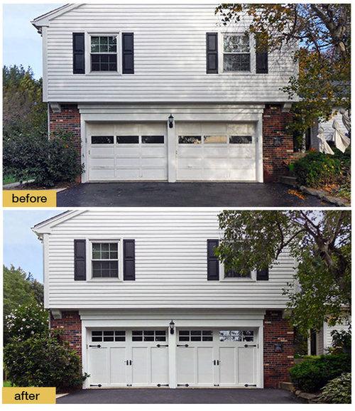 New Garage Doors Transform Outdated Split Level Home