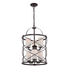 Ginger 6 Light 2-Tier, Chandelier With Satin White Glass