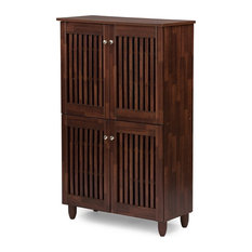 Baxton Studio - Fernanda and 4-Door Oak Brown Wooden Entryway Shoes Storage Tall Cabinet - Storage Cabinets