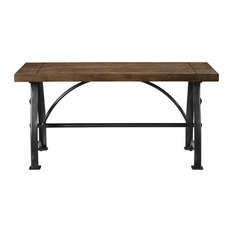 HomeFare   Rosebank Wood And Metal Dining Bench   Dining Benches