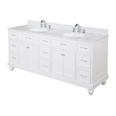 Amelia Double Bath Vanity, Base: White, Top: Carrara Marble