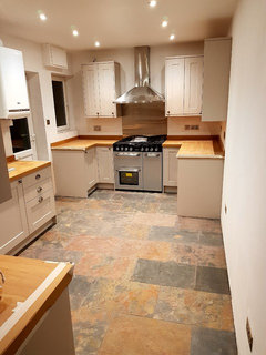 Kitchen Walls Grey Units Oak Worktops