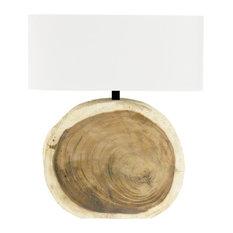 Mandara Natural Wood Plank Circle Table Lamp