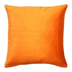 "Pillow Decor Ltd. - Pillow Decor Sankara Silk Throw Pillows 16""x16"", Orange - Decorative Pillows"