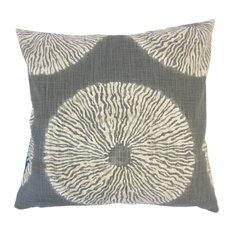 "Talmai Ikat Down Filled Throw Pillow, Greystone, 24""x24"""