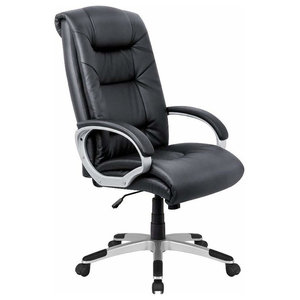 Modern Swivel Chair Upholstered, Black PU Leather With Padded Armrest