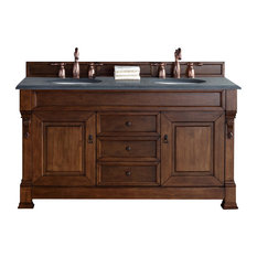 "Brookfield 60"" Double Cabinet, Country Oak, 2CM Black Rustic Stone Top"