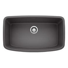 """Blanco 32""""x19"""" Granite Single Undermount Kitchen Sink, Cinder"""
