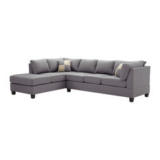Pasqual Faux Leather Sectional, Gray