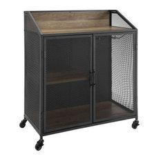 33 Urban Industrial Bar Cabinet Rolling Cart With Metal Mesh Doors, Rustic Oak