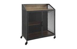 "33"" Urban Industrial Bar Cabinet Rolling Cart With Metal Mesh Doors, Rustic Oak"