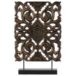 Wood Tall Rectangular Filigree Ornament on Rectangular Stand Rubbed