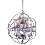 """Elegant Lighting - Geneva 20"""" Chandelier, Polished Nickel, Silver Shade Crystal, Royal Cut Crystal - Shades of the past and present merge with new age design to create the Geneva. The old world feel of a classic crystal chandelier suspended in the modern take on the gyroscope. Many finishes and shades of crystal make this a custom classic."""