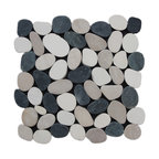 "12""x12"" Sliced Interlocking Pebble Tile, Black, White & Tan"