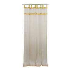 "Mogul Interior - 2 Organza Sheer Curtains Beige Stripe Pattern Sari Border Indian Drapes, 48x96"" - Curtains"