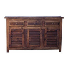 Old Wood Bathroom Vanity With Plantation Shutter 60-inchx20-inchx32-inch Double Sink