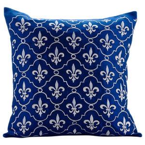 Boroque Royal Blue Cushion Covers, Art Silk 40x40 Cushion Cover, French Vanilla