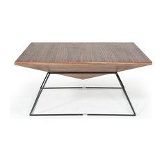 Vig Furniture Inc.   Modrest Gabriel Modern Square Walnut Coffee Table   Coffee  Tables