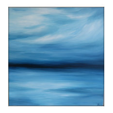 Large Abstract Painting on Canvas Modern Acrylic Skyline- 36x36- Blues