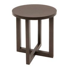 Regency Chloe Round Veneer End Table in Mocha Walnut