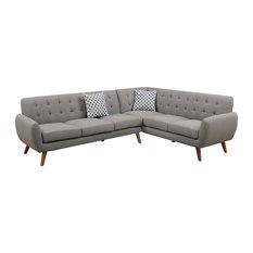Exceptional Infini   Modern Retro Style Sectional Sofa, Gray   Sectional Sofas