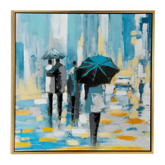 Large Square Contemporary Acrylic Painting of People Walking in Rain