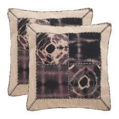 "Safavieh Dip-Dye Quartre Patch Pillow, Set of 2, Sumac, 20""x20"""