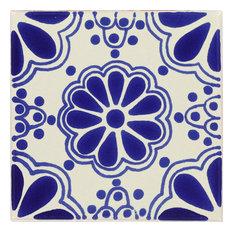 """Tierra y Fuego Handmade Ceramic Tile, 4.25x4.25"""" Blue Lace, Box of 90"""