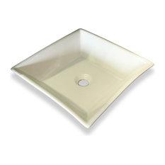 White Trapezoid Ceramic Vessel Sink - No Overflow Valve