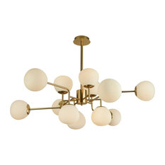 Erich Modern Sputnik Chandelier With White Globe Shades, 12 Light