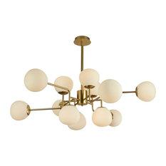 MAYTONI DECORATIVE LIGHTING - Erich Modern Sputnik Chandelier With White Globe Shades, 12 Light - Chandeliers