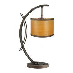 Eclipse Veneer Drum Shade Table Lamp, Nougat