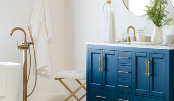A Blue and Brass Bathroom