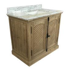 "Theo Single-Sink Bathroom Vanity With Carrara White Marble Top, 36"""