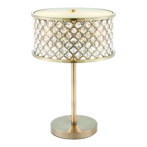 Hudson Double 40 W Table Lamp, Antique Brass