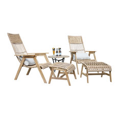 5-Piece Teak Bohemian Basket Lounger Set With Matching Ottomans and Accent Table