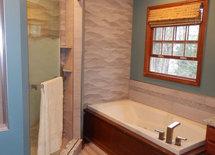 Rolling shower door--