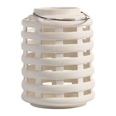 """""""Briza"""" 8.25"""" Tall Ceramic Decorative Candle Lantern, White"""
