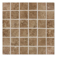 "12""x12"", Travertino Walnut Brown Porcelain Matte Mosaic Tile Bathroom Kitchen"