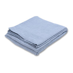 Stone Washed Rhomb Bed Linen Flat Sheet, Stone Blue, Queen