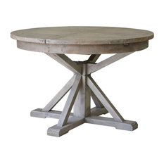 Reclaimed Wood Round Extension Dining Table, Sun Dried