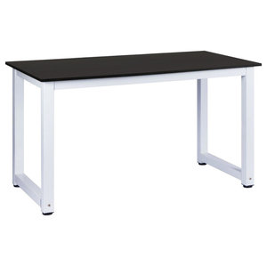 Contemporary Stylish Desk, MDF With Steel Metal Frame, Simple Design, Black