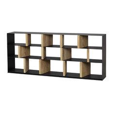 "79"" Long Fausta Sideboard Shelf Wood Two Tone Abstract Brown Black"