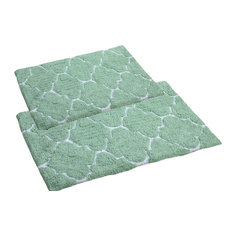 Affinity Linens 100 Percent Cotton Reversible Bath Rug With Crochet Lace Set Of