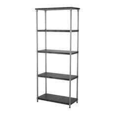 HomeZone 5 Tier Shelf, MDF Shelf, Satin Nickel Finish