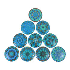 Twisted R Design - 10 Piece Set, Aquamarine Dreams Mandala Cabinet Knobs - Cabinet and Drawer Knobs