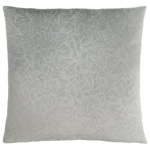 "18""x18"" Pillow, Light Grey Floral Velvet, 1-Piece"