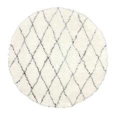 Hand Made Geometric Moroccan Wool Shag Rug, Ivory, 6' Round