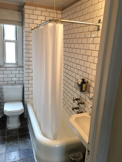 Narrow 53 Square Foot Bathroom Goes Glam