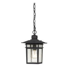 """Nuvo Cove Neck 1-Light 12"""" Hanging Light w/ Clear Seeded Glass in Textured"""